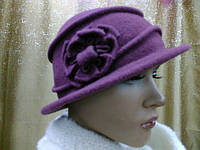Шляпы RABIONEK из мягкой шерсти с цветком р-р 56-57, лиловый цвет