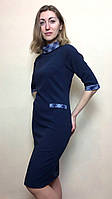 Платье-футляр темно-синее с хомутом П174, фото 1