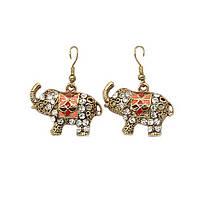 Серьги Индийский слон под золото
