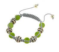 Браслет Шамбала с бархатными бусинами, зелёный, 00425
