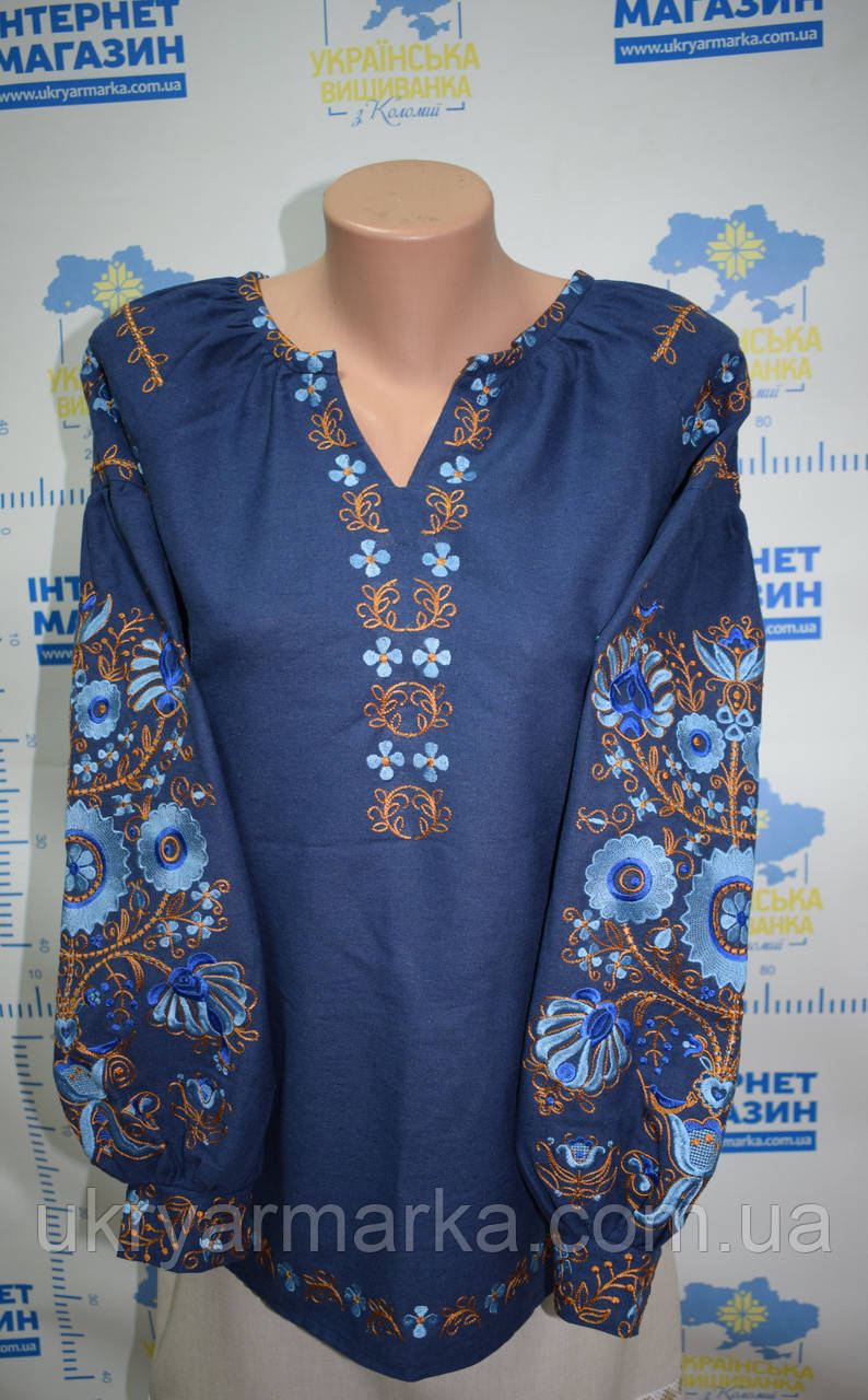 """Вишита жіноча блузка """"Сонячне коло"""" темно-синя"""