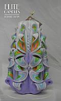 Свеча резная весенней расцветки, ручная работа, 14 см высотой.
