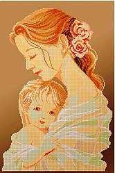 Схема для вишивки та вишивання бісером Бисерок «Мати і дитя» коричневий фон (30x50) (П-102-К (10))
