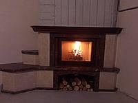 Каминный мраморный портал Парма Браун (угловой), фото 1