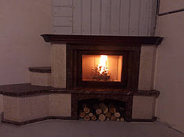 Каминный мраморный портал Парма Браун (угловой)