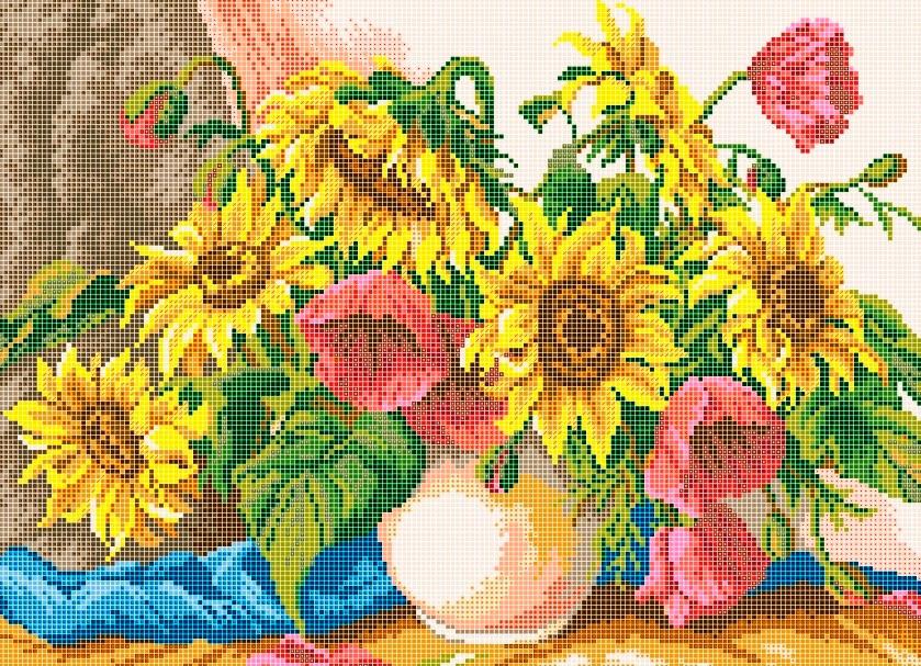 Схема для вишивки та вишивання бісером Бисерок «Ваза з соняшниками» (30x50) (П-111(10))