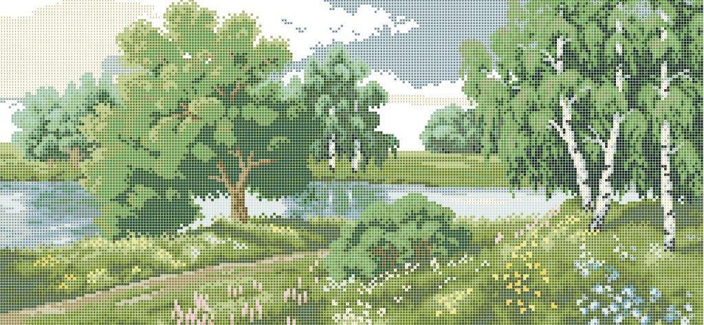 Схема для вишивки та вишивання бісером Бисерок «Пейзаж біля річки» (30x50) (П-114 (10))