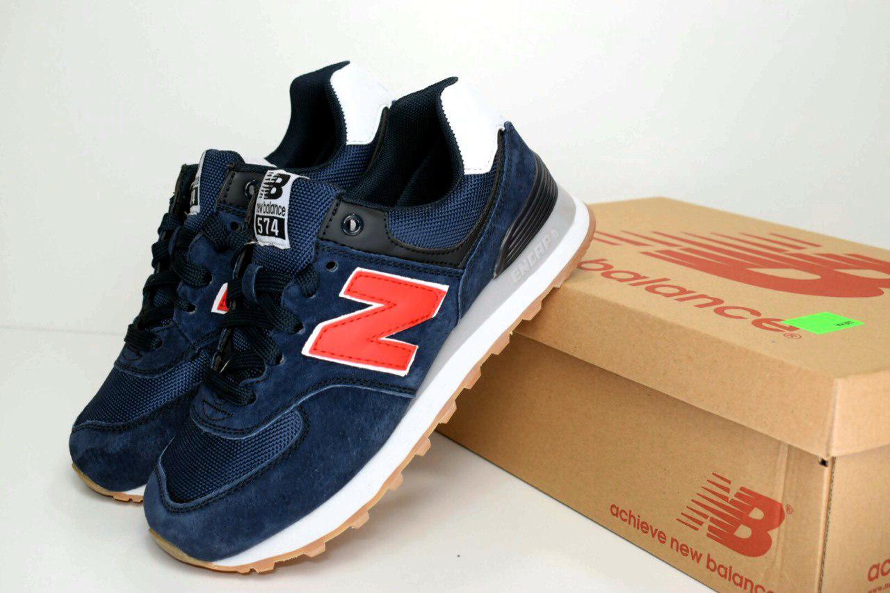 94cb7456 Женские кроссовки New Balance 574 (SIN) синие/красная N 2470, ...