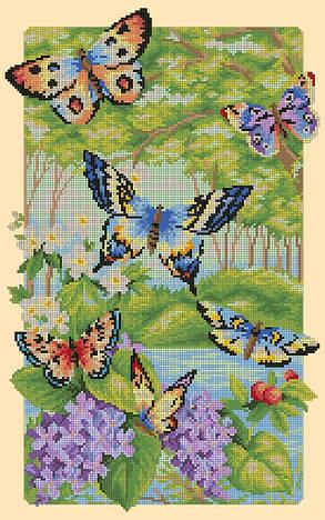 Схема для вишивки та вишивання бісером Бисерок «Метелики в лісі» (30x50) (П-116 (10))