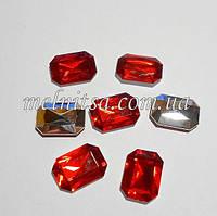 Камень-кристалл под оправу, прямоугольный, 18 х 13 мм, цвет красный