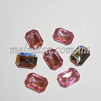 Камень-кристалл под оправу, прямоугольный, 18 х 13 мм, цвет розовый