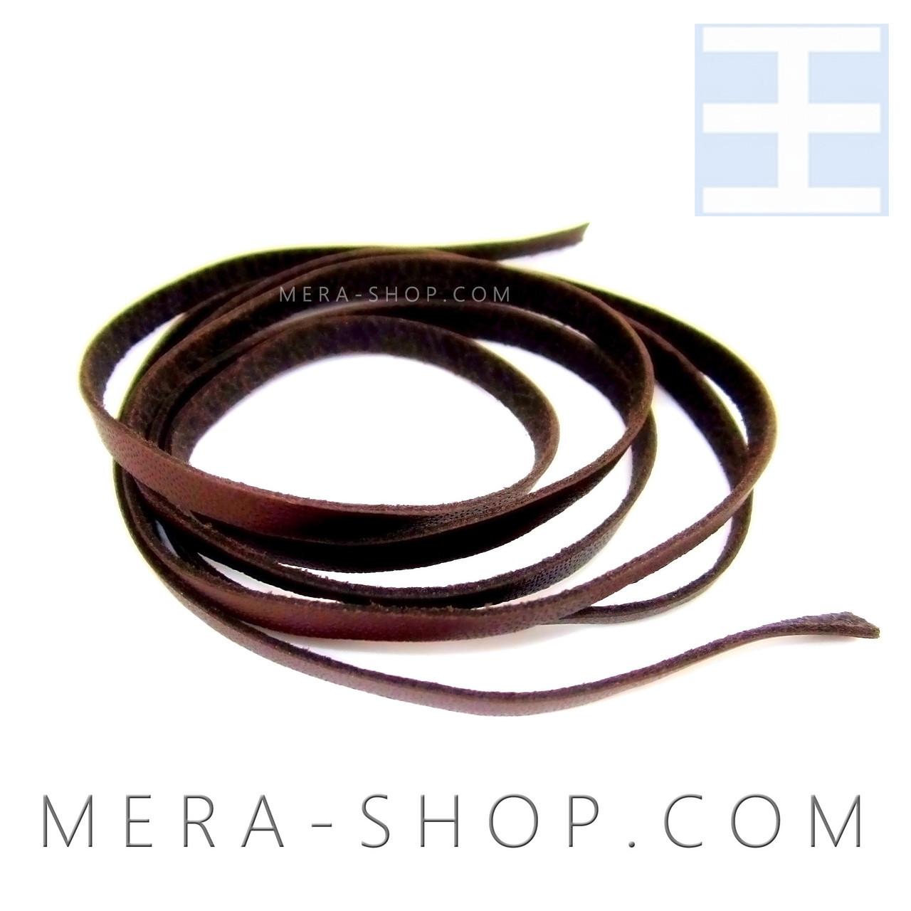 Коричневая кожаная лента шнурок для кулона (3 х 1 мм, 80 см)