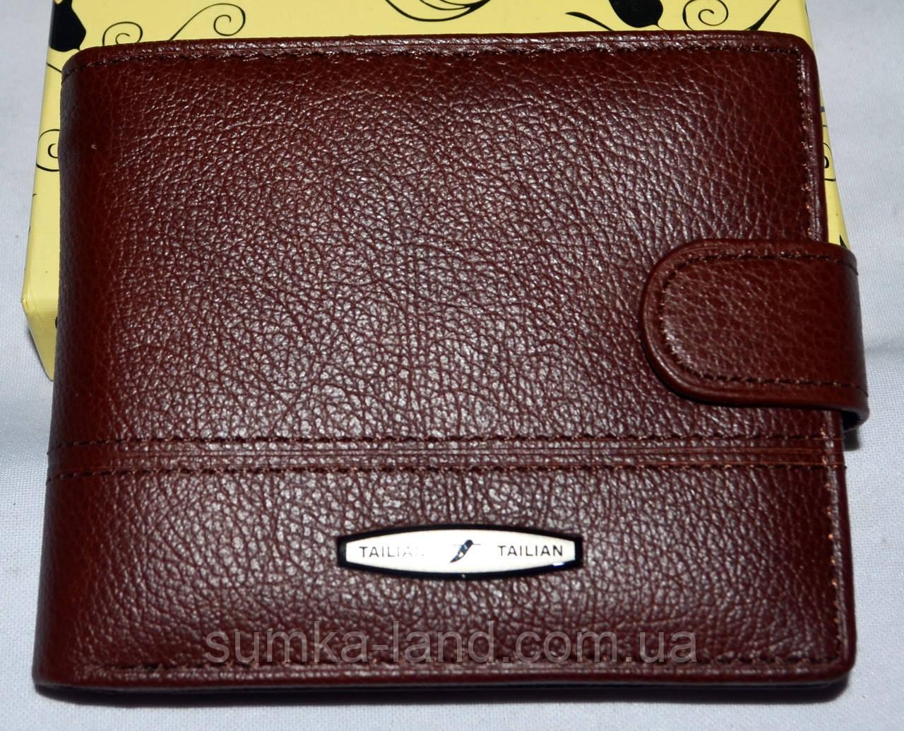 Мужской каштановый кошелек из натуральной кожи Tailian 11,5*9,5 см