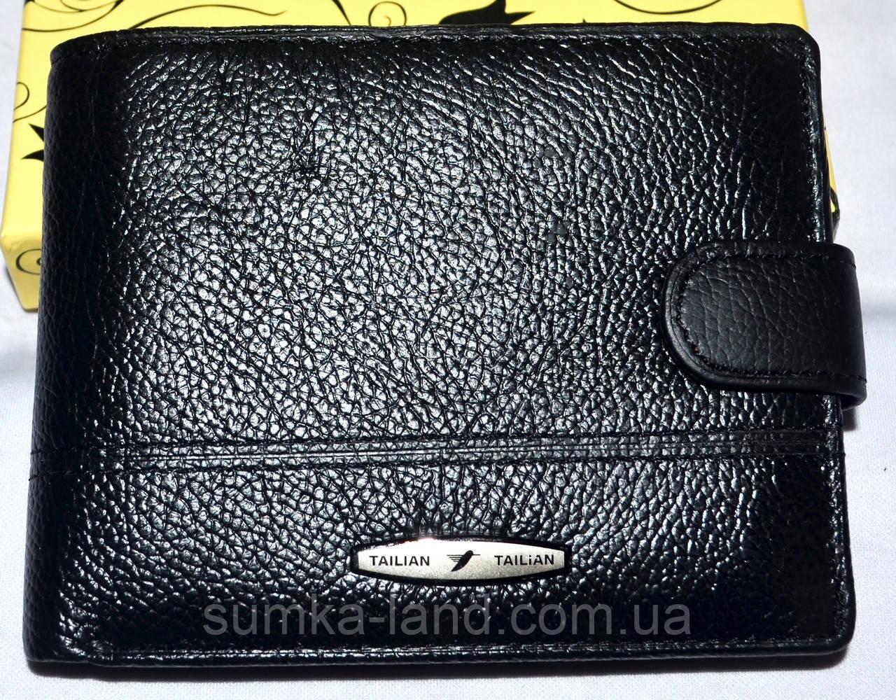 Мужской черный кошелек из натуральной кожи Tailian