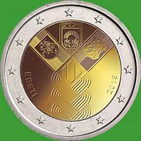 Естонія 2 євро 2018 р. 100-річчя незалежності прибалтійських держав . UNC