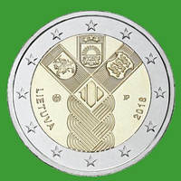 Литва 2 евро 2018 г. 100-летие независимости прибалтийских государств . UNC