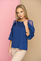 Блуза синяя из жаккарда Бэль 42-50р