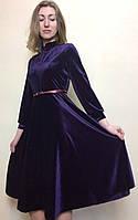 Платье коктейльное бархатное полуклеш П227