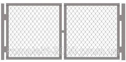Ворота металлические из сетки рабица 1 х 1,5 | Распашные ворота из сетки