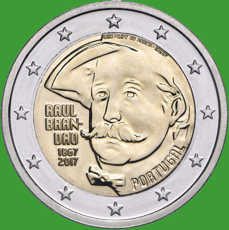 Португалия 2 евро 2017 г. 150 лет со дня рождения писателя Раула Брандана . UNC