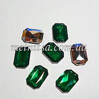 Камень-кристалл под оправу, прямоугольный, 18 х 13 мм, цвет зеленый