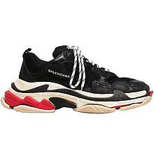 Кросівки чоловічі Balenciaga Triple S (чорні-білі-червоні) Top replic