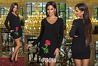 Платье Роза №1011 .  Роза-аппликация .. Ткань ангора (Турция). Размер: С-М, М-Л. Цвет черный, белы