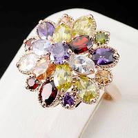 Радужное кольцо с кристаллами Swarovski, покрытое золотом 0743