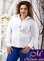 Классическая женская белая блуза большого размера (48, 50, 52, 54) арт. 10454