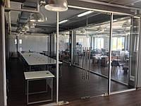 Распродажа! Стеклянные офисные перегородки с распашными дверями  - комплект 58 кв.м.