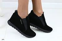 Женские замшевые туфли на скрытой танкетке