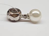 Серебряная подвеска-шарм с жемчугом и фианитами. Артикул MР668-0080, фото 1