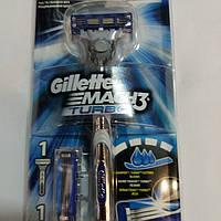 Бритва бритвенный станок Gillette Mach3 Turbo +2 картриджа. Оригинал., фото 1