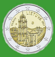 Литва 2 евро 2017 г. Вильнюс - столица культуры и искусства. UNC