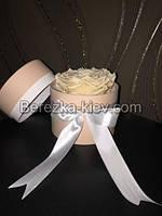Стабилизированная роза ХХL в кремовой коробке (кремовая), фото 1