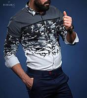 Оригинальная  мужская рубашка серого цвета
