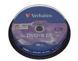 Диски Verbatim DVD R DL 8.5GB 10шт. шпиндель, (43666)