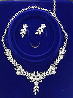 Элитные свадебные комплекты бижутерии. Крупное колье и серьги с кристаллами 331