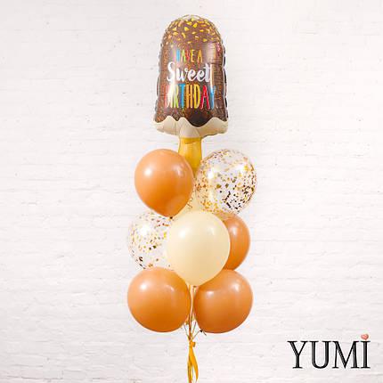 Связка из шара мороженое, 4 кофейных, 3 айвори и 2 прозрачных шаров с золотым конфетти, фото 2