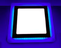 Светодиодный светильник с синей подсветкой 18+6W LM502 4500K квадрат, фото 1