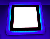 Светодиодный светильник синей подсветкой 6+3W LM500 4500K квадрат, фото 1