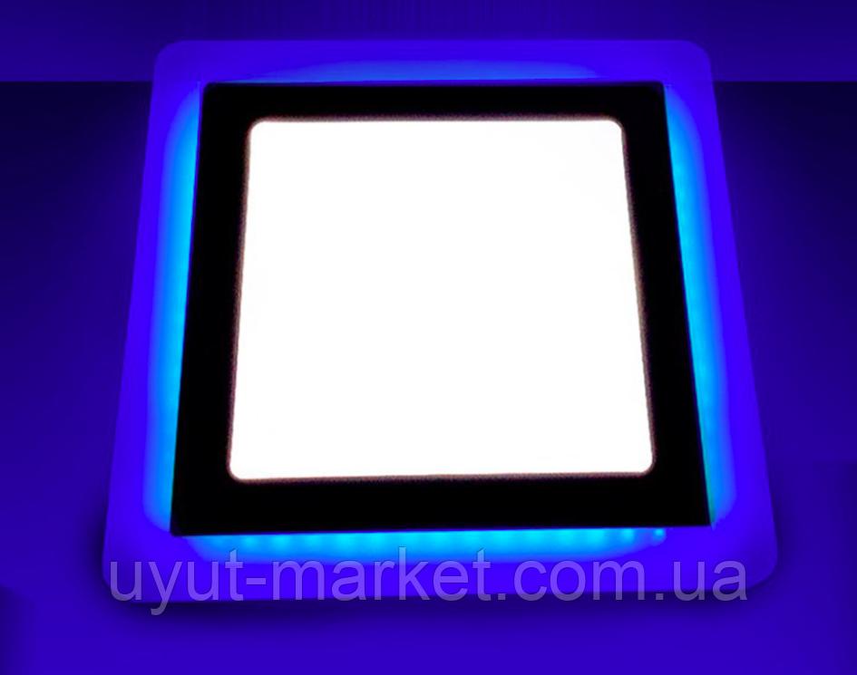 Светодиодный светильник с синей подсветкой 12+4W LM501 4500K квадрат, фото 1