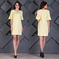 """Желтое короткое женское платье с воланами на рукавах """"Леди"""", фото 1"""