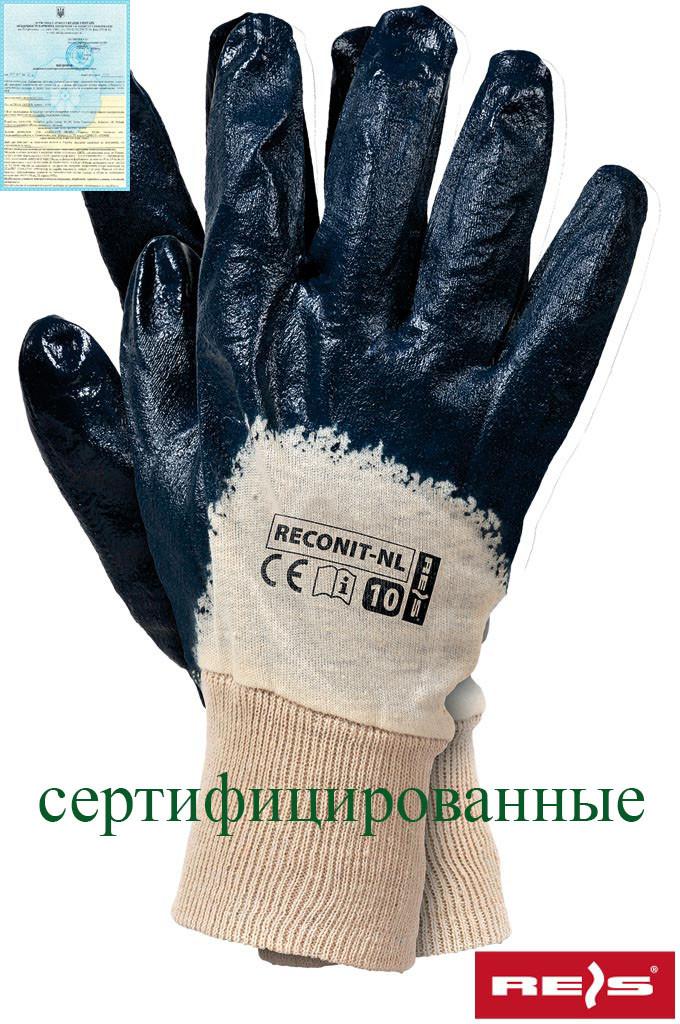 Захисні рукавиці, вкриті нітрилом, завершені трикотажної гумкою RECONIT-NL BEG