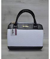 Молодежная женская сумка Плетенка белого цвета
