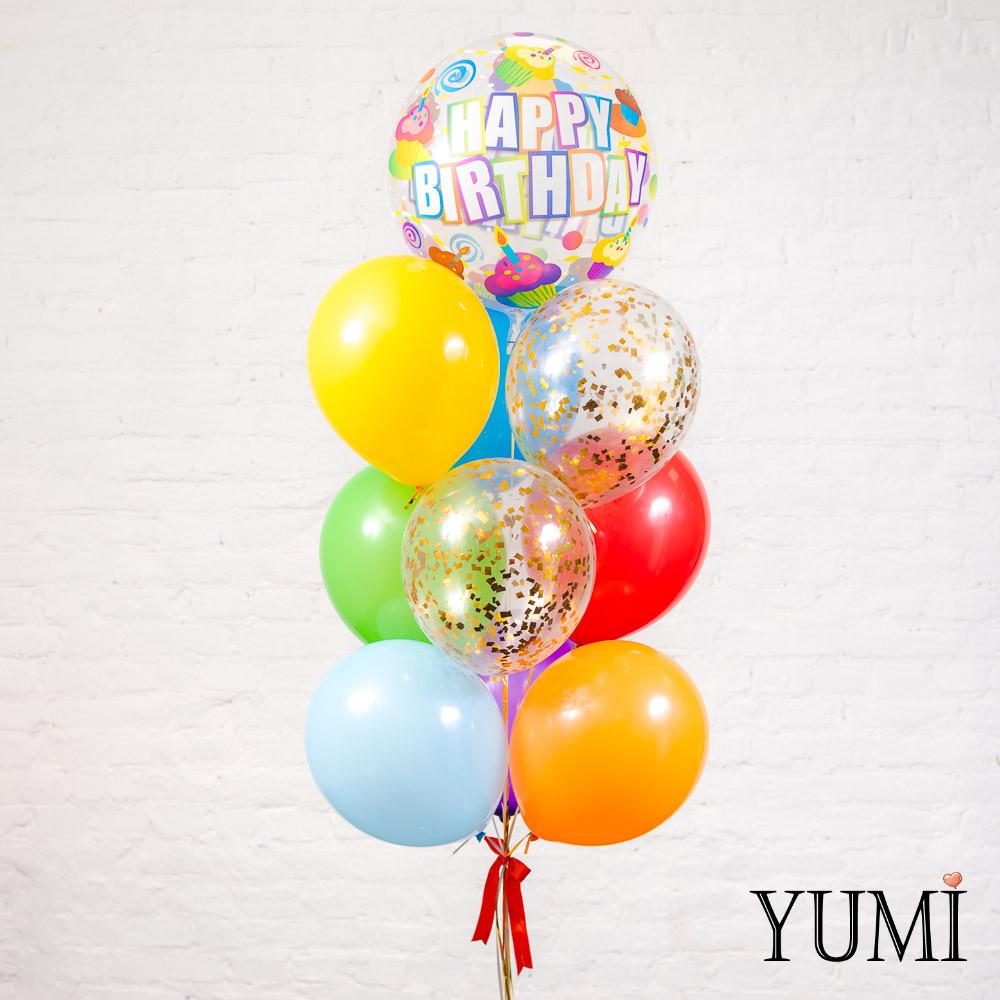 Яркий фонтан и воздушных шариков ко Дню Рождения