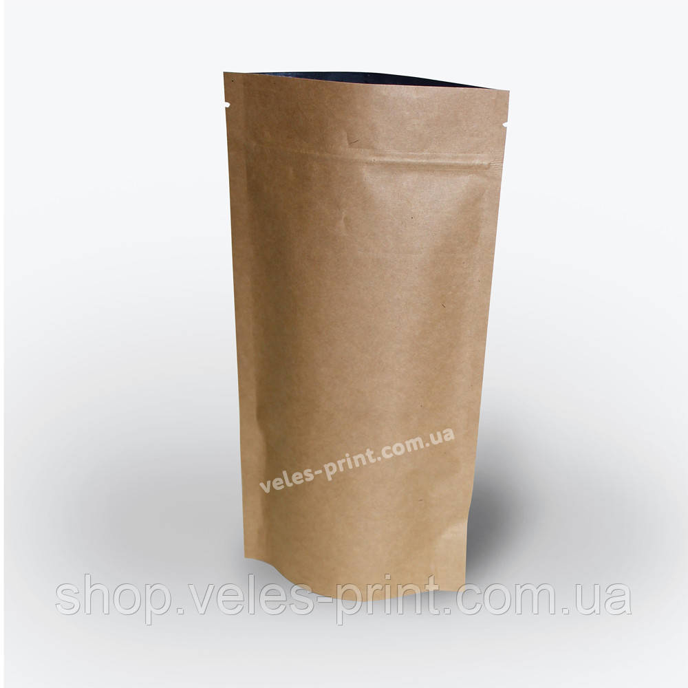 Пакет Дой-пак с Zip застежкой 500 г Крафт 180*280 (45+45)