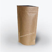 Пакет Дой-пак с Zip застежкой 500 г Крафт 180*280 (45+45), фото 1