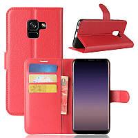 Чехол Samsung A530 / A8 2018 книжка PU-Кожа красный