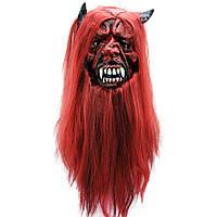 Маска латексная Дьявол с волосами 184-16191